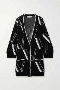 Valentino - Oversized Intarsia Wool And Cashmere-blend Cardigan - Black