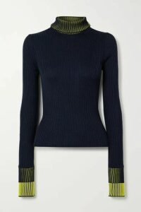 Maison Margiela - Ribbed Cotton-blend Turtleneck Sweater - Navy