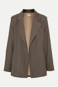 aaizél - + Net Sustain Pinstriped Wool Blazer - Brown