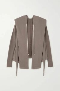 Rick Owens - Felpa Tie-detailed Draped Cotton-jersey Hoodie - Light gray