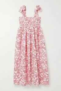 Marysia - Sicily Smocked Floral-print Perforated Cotton Midi Dress - White