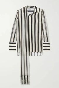 Monse - Fringed Tie-neck Striped Plissé Silk-chiffon Shirt - Black
