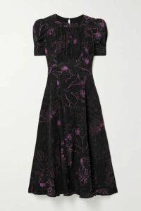 Les Rêveries - Floral-print Silk Crepe De Chine Midi Dress - Black