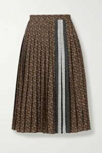 Burberry - Pleated Printed Crepe De Chine Skirt - Brown