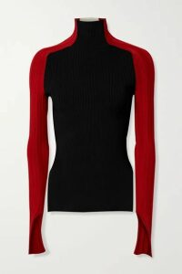 Peter Do - Color-block Ribbed-knit Turtleneck Top - Black