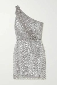 Michelle Mason - One-shoulder Sequined Mesh And Silk Mini Dress - Silver