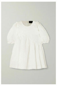 Simone Rocha - Oversized Ruffled Cloqué Top - White