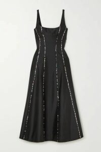 RASARIO - Sequin-embellished Silk-shantung Midi Dress - Black