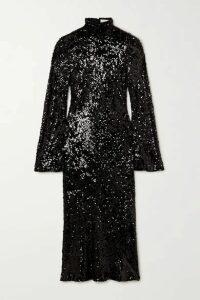 Galvan - Legato Open-back Sequined Chiffon Midi Dress - Black