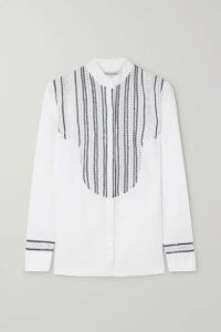 Rue Mariscal - Embroidered Crocheted Cotton Shirt - White