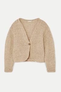 aaizél - + Net Sustain Ribbed Wool-blend Cardigan - Taupe