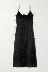Michael Lo Sordo - Feather-embellished Silk-satin Maxi Dress - Black