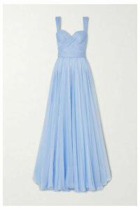 Ralph & Russo - Pleated Draped Silk-chiffon Gown - Sky blue