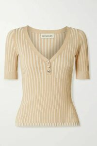 NICHOLAS - Epices Ribbed-knit Top - Beige