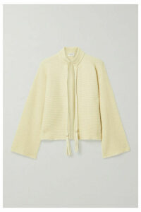 Salvatore Ferragamo - Leather-trimmed Ribbed Cashmere And Cotton-blend Cardigan - Cream