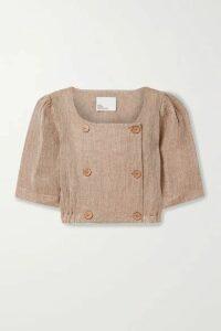 Lisa Marie Fernandez - + Net Sustain Diana Cropped Linen-blend Gauze Top - Sand