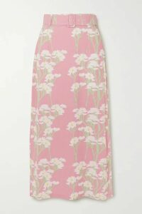 BERNADETTE - Monica Belted Floral-print Stretch-jersey Midi Skirt - Antique rose