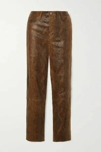 J Brand - Ruby Snake-effect Leather Skinny Pants - Brown