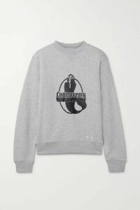 BLOUSE - Controversy Printed Organic Cotton-jersey Sweatshirt - Light gray