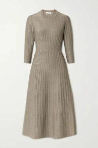 CASASOLA - Metallic Ribbed-knit Midi Dress - Mushroom