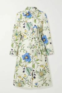 Tory Burch - Belted Quilted Floral-print Silk-satin Coat - Ivory