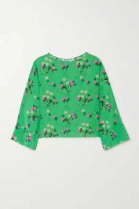 BERNADETTE - Gemma Floral-print Silk Crepe De Chine Top - Green