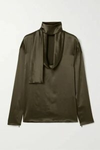 TOM FORD - Draped Silk-satin Blouse - Army green