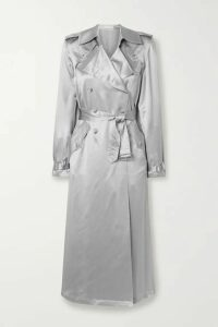 Fleur du Mal - Double-breasted Silk-satin Trench Coat - Platinum
