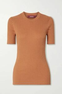 Sies Marjan - Adut Ribbed Stretch-silk T-shirt - Tan
