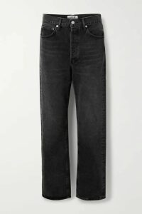 AGOLDE - '90s Distressed Mid-rise Straight-leg Jeans - Black