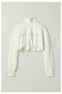 Alexander Wang - Cropped Embroidered Cotton-jersey Turtleneck Sweatshirt - Ivory
