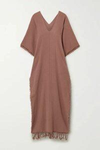 Caravana - Saas Fringed Cotton-gauze Maxi Dress - Brick