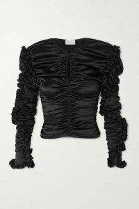 Magda Butrym - Konya Ruched Silk-blend Satin Top - Black