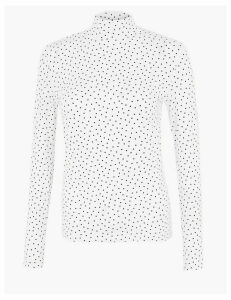 M&S Collection Cotton Rich Polka Dot Fitted Top