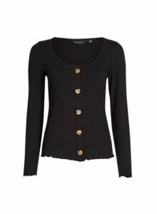 Womens Black Ribbed Button Top, Black