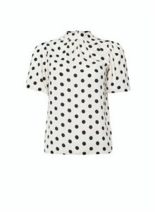 Womens Dp Petite White Spot Print Puff Sleeve Top - Ivory, Ivory