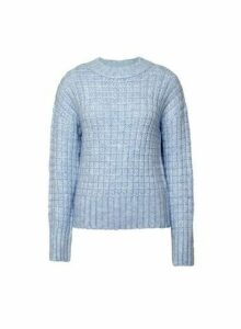 Womens Blue Recycled Basket Jumper, Blue