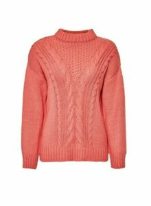 Womens Coral Cotton Cable Jumper, Coral