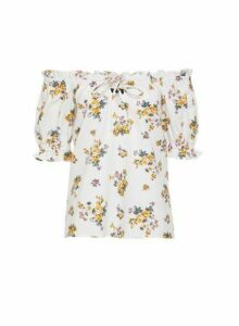 Womens White Floral Print Linen Milkmaid Top, White