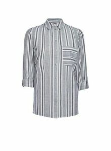 Womens Multi Colour Striped Linen Shirt- Black/White, Black/White