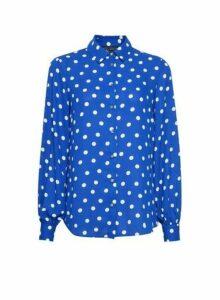 Womens Cobalt Balloon Sleeve Spot Print Shirt, Cobalt