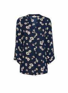Womens Tall Navy Floral Print Roll Sleeve Blouse - Blue, Blue