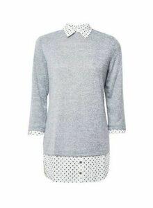 Womens Tall Grey Spot Print 2-In-1 Top, Grey