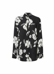 Womens **Tall Black Floral Print Shirt- Multi Colour, Multi Colour