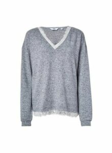 Womens **Tall Grey Brushed Lace Top, Grey