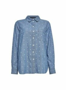 Womens Blue Polka Dot Print Denim Shirt, Blue