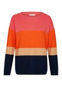 Sofia Wool Cashmere Stripe Sweater Navy Multi