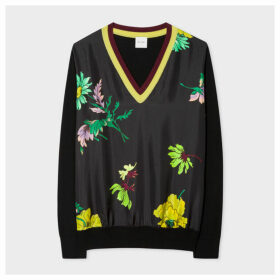 Women's Black 'Scattered Floral' Wool V-Neck Sweater