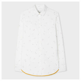 Women's Slim-Fit White 'Safety Pins' Print Cotton Shirt