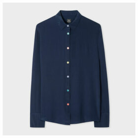 Women's Navy Silk Shirt With Multi-Coloured Button Placket